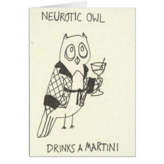 Den neurotiska ugglan dricker en Martini Hälsningskort