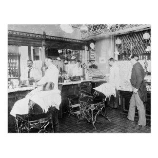 Den New York City barberaren shoppar, 1895 Vykort