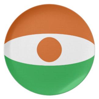Den Niger Fisheye flagga pläterar Tallrik