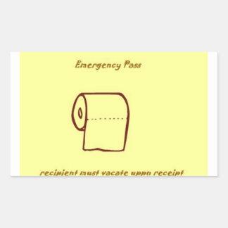 Den nöd- badrummen passerar gaggåvan rektangulärt klistermärke