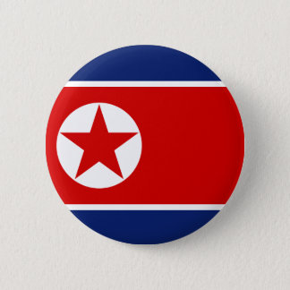 Den Nordkorea flagga knäppas Standard Knapp Rund 5.7 Cm