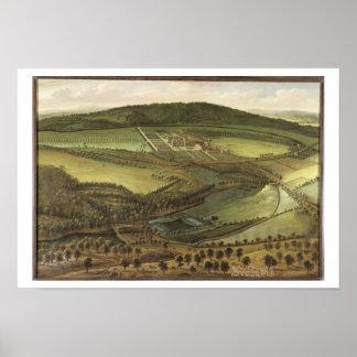 Den norr utsikten av den Hampton domstolen, c.1699 Poster