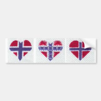 Den norska flaggahjärtakor syr nordisk norgeCU Bildekal