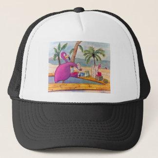 Den nyckfulla rosa flamingoen häller truckerkeps