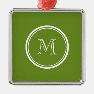 Den olivgröna gråbruna kicken avslutar kulört silverfärgad fyrkantigt julgransprydnad