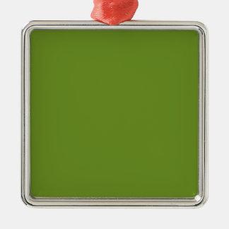 Den olivgröna gråbruna kicken avslutar märkes- silverfärgad fyrkantigt julgransprydnad