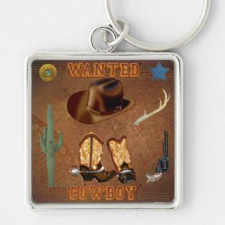 Den önskade cowboyen startar den westerna fyrkantig silverfärgad nyckelring