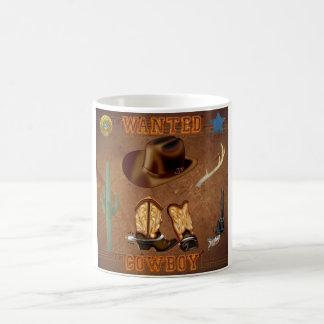 Den önskade cowboyen startar den westerna kaffemugg