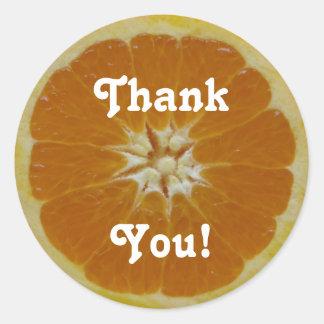 Den orange fruktskivan, tackar, dig! runda klistermärken
