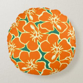 Den orange hibiskusen blommar tropiska hawaianska rund kudde