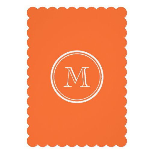 Den orange kicken avslutar kulört Monogrammed Anpassade Inbjudningskort