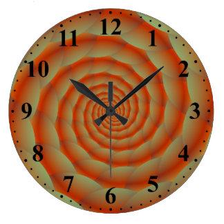 Den orange ormen flår den spiral väggen tar tid på stor klocka