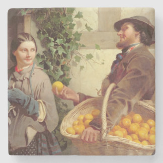 Den orange säljare (olja på kanfas) stenunderlägg