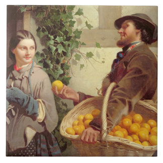 Den orange säljare olja på kanfas kakel