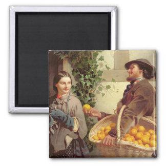 Den orange säljare olja på kanfas kylskåpsnagnet