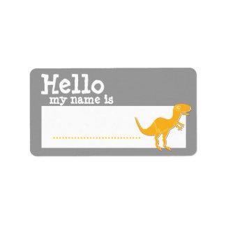 Den orange T-Rex hejen mitt namn är känt emblemsil Adressetikett