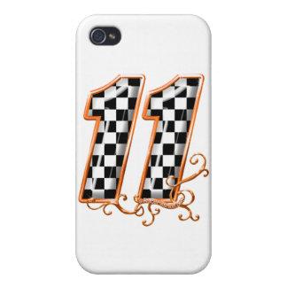 den orange tävlings- flagga numrerar 11 iPhone 4 cover