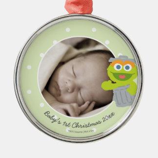 Den Oscar | baby första jul - tillfoga ditt namn Julgransprydnad Metall