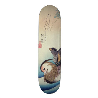 Den Oshidori mandarinen duckar vid Ando Hiroshige Mini Skateboard Bräda 18,7 Cm