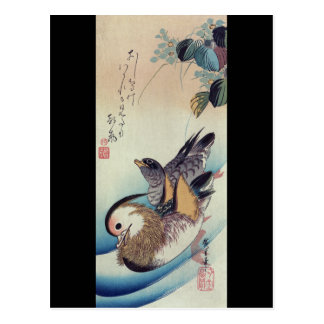 Den Oshidori mandarinen duckar vid Ando Hiroshige Vykort