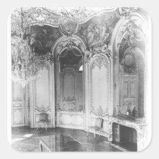 Den ovala salongen dekorerade med berättelsen av fyrkantigt klistermärke