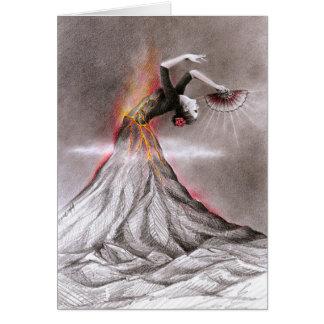 Den overkliga vulkan för flamencodanskvinnan ritar hälsningskort