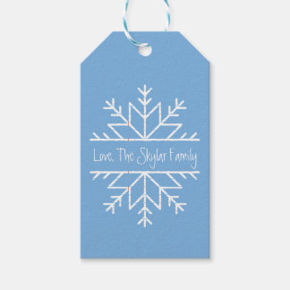 Den pappra snöflingor personifierade handskriven presentetikett