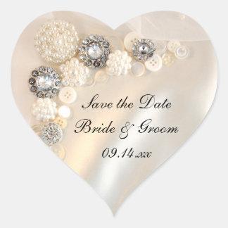 Den pärlemorfärg diamanten knäppas bröllop spara hjärtformade klistermärken
