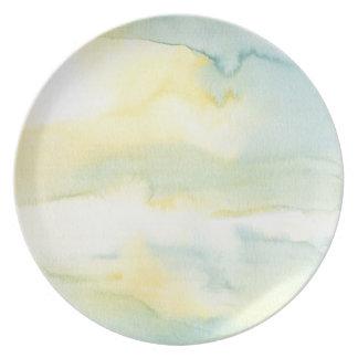 Den pastellfärgade akvarellen tvättar målning tallrik