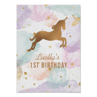 Den pastellfärgade Unicornfödelsedagsfesten Poster