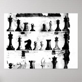 Den patenterade teckningen för Staunton Chessmen Poster