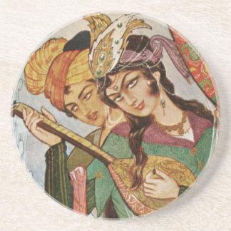 Den persiska miniatyrnymphen med setar specificera glasunderlägg i sandsten