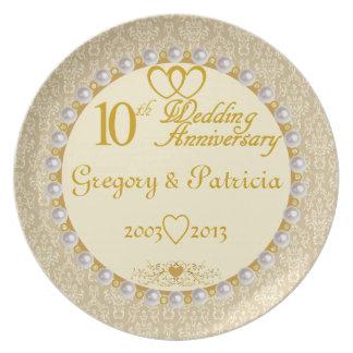 Den PERSONIFIERADE (NAMES/DATES) 10th årsdagen Tallrik