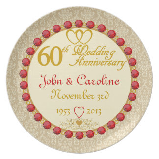 Den PERSONIFIERADE (NAMES/DATES) 60th årsdagen Tallrik