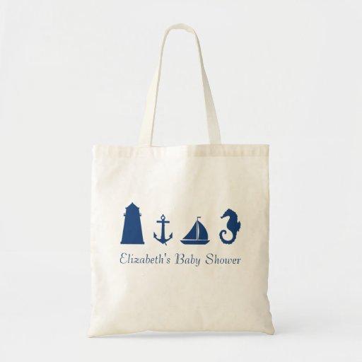 Den personifierade nautiska Silhouettetotot hänger Tote Bags