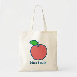 Den personifierade röda Apple läraretotot hänger Budget Tygkasse