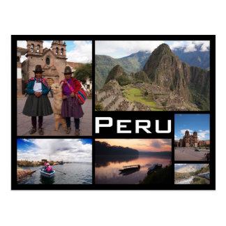Den Peru mångan avbildar den svart textvykortet Vykort