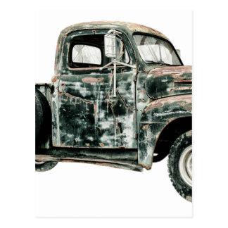 Den pickupa lastbilen skrotar transport för vykort