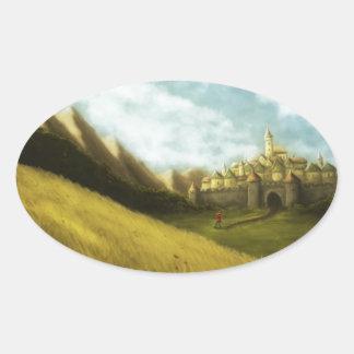 den pied pipblåsaren av hamelingrimmsagan ovalt klistermärke