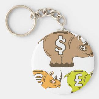 Den Piggy noshörningen packar ihop vektorn Rund Nyckelring