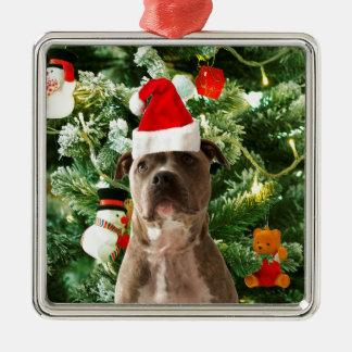 Den Pitbull hundjulgranen smyckar snögubben Julgransprydnad Metall