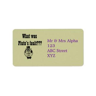 Den planetPluto Avery etiketten Adressetikett