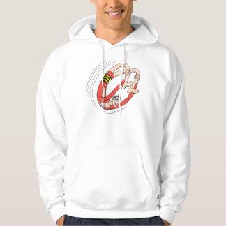Den plast- manbackbenden rullar hoodie