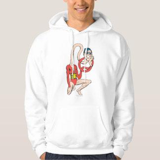 Den plast- manrubbernecken poserar hoodie