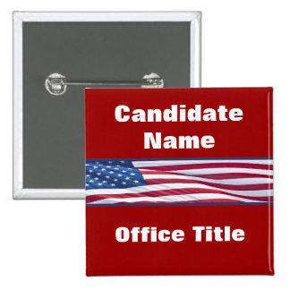 Den politiska valkampanjen knäppas standard kanpp fyrkantig 5.1 cm