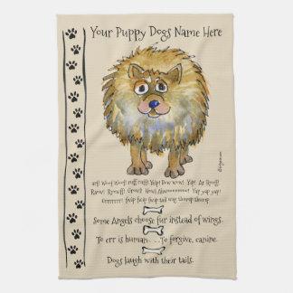 Den Pomeranian tecknad hund citerar kökshandduken Kökshandduk