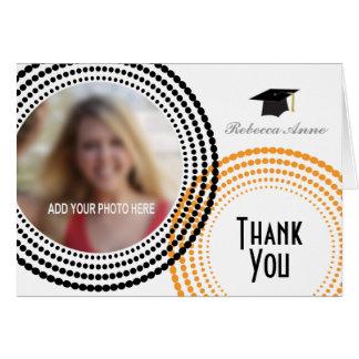 Den prack svarten & orangen cirklar studententack hälsnings kort