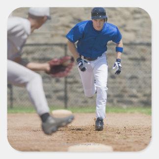 Den pröva basebollspelaren att stjäla baserar fyrkantigt klistermärke