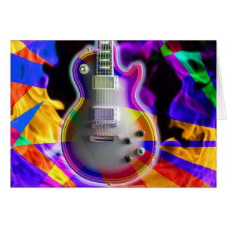 Den Psychedelic elektriska gitarren och flammar Hälsningskort