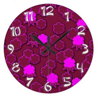 Den Psychedelic rosa blom- japanen med numrerar Stor Klocka